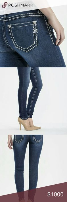 """WANTED!! Miss Me Skinny Jeans Sz 29 ASAP! Hi guys! Usually I wouldn't do something this tacky, but I need skinnies and legit have no time to shop. I'm looking for Miss Me brand jeans either the new super skinny fit or signature skinny fit in a size 29 with an inseam of 30"""". I don't care about the wash or embellishments, just blue and no distressing. I attached example photos, but I like them to be snug on the calf and ankle so they can fit in tall boots. Please message me or leave me a…"""