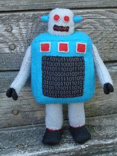 ✝☮✿★ ROBOT ✝☯★☮  Retro bot plush, binary by ~silentorchid on deviantART