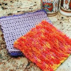 Scrubby Crochet Dishcloth Pattern 2019 Double-Sided Scrubby Dishcloth free crochet pattern by Kara Gunza at Petals to Picots. The post Scrubby Crochet Dishcloth Pattern 2019 appeared first on Yarn ideas. Scrubbies Crochet Pattern, Crochet Dishcloths, Crochet Stitches Patterns, Cloth Patterns, Afghan Patterns, Knitting Patterns, Flower Patterns, Crochet Crafts, Crochet Yarn