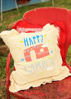 HAPPY CAMPER PILLOW - Junk GYpSy co.