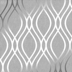 Henderson Interiors Camden Wave Wallpaper Soft Grey, Silver - Wallpaper from I Love Wallpaper UK Waves Wallpaper, Metallic Wallpaper, Kitchen Wallpaper, Damask Wallpaper, Textured Wallpaper, Designer Wallpaper, Grey Wallpaper Accent Wall, Wallpaper Designs, Wallpaper For House