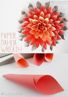 DIY Holiday Wreaths Make Awesome Homemade Christmas Decorations for Your Front Door | Cool Crafts and DIY Projects by DIY JOY | Paper-Dahlia-Wreath | http://diyjoy.com/diy-christmas-decorations-wreaths