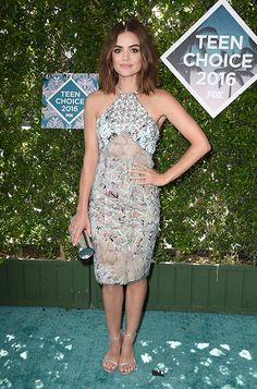 Lucy Hale carrying TRINKET at the Teen Choice Awards in Los Angeles