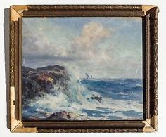 WILLIAM A. COUPER (AMERICAN) d.1917, SIGNED MARITIME OIL on BOARD, W/ORIG. FRAME