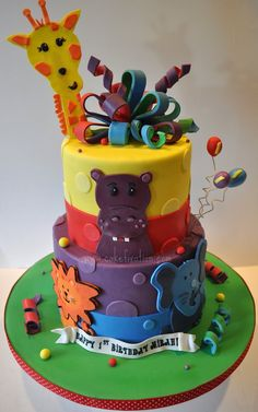 Jungle Themed Birthday cake #zoo #jungle #birthdayparty #partyideas #birthday