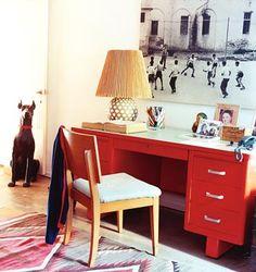Red Desk Via Domino Red Desk, Metal Desks, Workspaces, Ione Skye, Office