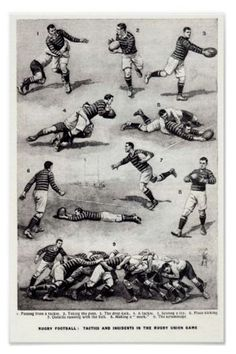 """Rugby lessons from the pioneers times. Illustration in black and white about how to play the """"rugby football"""" game in England. Une illustration en noir et blanc pour apprendre les gestes du « rugby football Vintage Leather, Vintage Black, Retro Vintage, Rugby, Old Shool, Viking Logo, Good Old Times, Home Sport, Retro Look"""