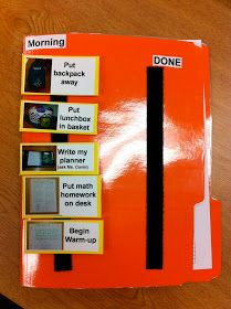 Routine folder to help students who struggle to remember what needs to be done.