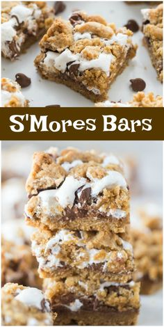 Easy recipe for S'Mores Bars. These are cookie bars layered with graham cracker crust, marshmallow and chocolate chips. Mini Desserts, Easy Desserts, Delicious Desserts, Yummy Treats, Yummy Food, Yummy Dessert Recipes, Recipes For Desserts, Desserts Keto, Easy Sweets