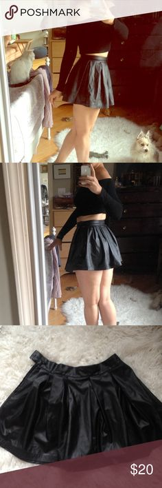 Faux Leather Pleated Skater Cheer Skirt I was very inspired by Liv Tyler in Empire Records when I bought this mini skirt. It's high-waisted and definitely mini. A really fun flirty and yet also edgy look. Nasty Gal Skirts Mini