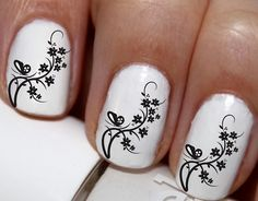 20 pc Black Butterfly And Flowers Vine Lines Nail Art Nail Decals #cg3729na