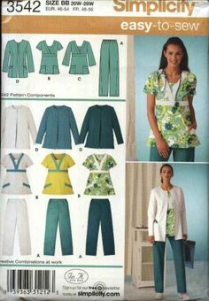 Simplicity Sewing Pattern 3542 Easy-to-Sew In K Designs Women's scrub pants, top and jacket. Description: Pullover short or three-quarter length sl