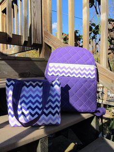 Purple chevron book bag set