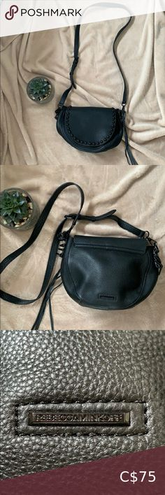 """Rebecca Minkoff studded leather crossbody black Crossbody bag from Rebecca Minkoff. Black leather with unlined interior. Features an adjustable strap and two pockets inside. Decorative tassel.  Front flap features metallic spheres in shiny black. The flap doesn't have a closure. Cute boho vintage look.  In like new condition, no scratches, stains or smell.   About 10""""x8""""x3"""" with 20"""" drop. Rebecca Minkoff Bags Crossbody Bags"""