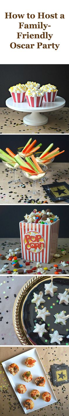 Sure, your kids may not stay up late enough to watch the entire show come Sunday night, but that doesn't mean they can't help to celebrate Hollywood's biggest day of the year. To help you out, we've created an award-worthy menu full of kid-friendly finger foods and sweet treats that have been given the red-carpet treatment.
