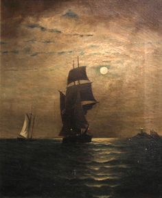R. Holland (19th Century) Moonlit ship at sea, 1890