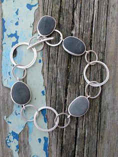 Grace Girvan Jewellery River stones set in silver bracelet decorative chain Rock Jewelry, Sea Glass Jewelry, Stone Jewelry, Metal Jewelry, Jewelry Art, Jewelry Bracelets, Jewelry Design, Bangles, Ankle Bracelets