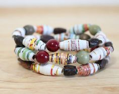 3 Recycled Paper Bead Bracelets Handmade From by TrashyCrafter, $20.00