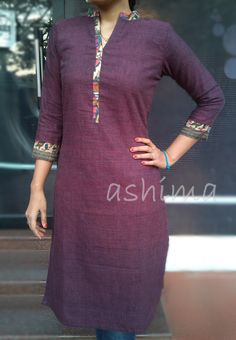 Code:0602160 -Khadi Cotton Kurta- Price INR:890/- Salwar Pattern, Kurta Patterns, Dress Patterns, Simple Kurti Designs, Blouse Designs, African Fashion, Indian Fashion, Churidar Designs, Kurti Embroidery Design