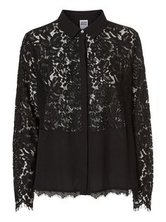 Black lace shirt from VERO MODA. Style it with a pair of flared denim jeans and a pair of high heels.