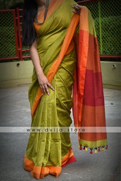 Buy Leafy branch of Olives Handloom Saree, Green Blouse, Cotton Saree, Sarees Online, Printing On Fabric, Pattern Design, Hand Weaving, Cotton Fabric, Sari