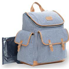 d1421b630bc7 Carter s Baby Go Ticking Stripe Backpack Diaper Bag in Navy. Best Diaper  Backpack