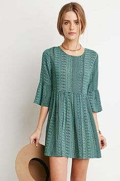 Ellady Green Stripe Print Half Sleeve A Line Dress