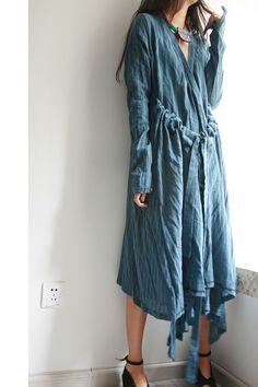 How to show/loose drawstring big V collar dress/4 colors/custom made. $68,00, via Etsy.