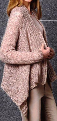 Жакет из прямоугольников спицами (function(w, d, n, s, t) { w[n] = w[n] Cardigan Pattern, Knit Cardigan, Tunisian Crochet, Knit Crochet, Free Knitting, Knitting Patterns, Knitting Needles, Yarn Inspiration, Lana