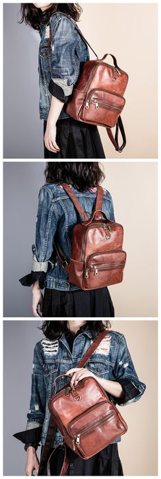 Handmade Top Grain Leather School Backpack Casual Travel Bag Daily Backpack AK31