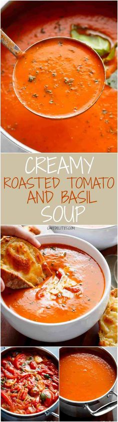 A Creamy Roasted Tomato Basil Soup full of incredible flavours, naturally thicke. - A Creamy Roasted Tomato Basil Soup full of incredible flavours, naturally thickened with no need fo - Roasted Tomato Basil Soup, Roasted Tomatoes, Vegan Tomato Soup, Creamy Tomato Basil Soup, Tomato Soup Recipes, Recipe For Tomato Basil Soup, Tomato Basil Soup Crockpot, Puree Soup Recipes, Cherry Tomato Pasta Sauce