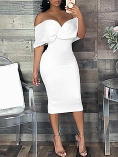 Shop Beaded Embellished Cross Wrap Bardot Bodycon Dress right now, get great deals at Chiquebabe Elegant Dresses, Sexy Dresses, Cute Dresses, Beautiful Dresses, Dress Outfits, Evening Dresses, Classy Dress, Classy Outfits, Strapless Dress