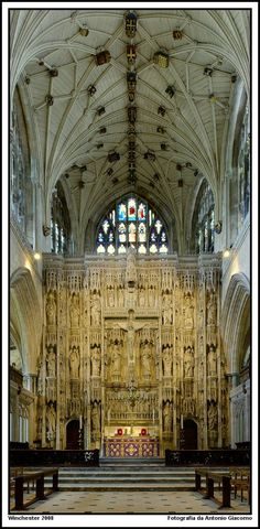 The High Altar, Winchester Cathedral, UK.Norman architecture,English Gothic architecture. One of the largest Cathedrals in England.@