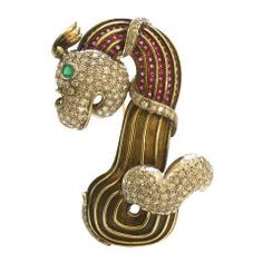 Gold, Diamond, Ruby and Emerald Brooch, Circa 1945 - Kimberly Klosterman Jewelry Gold Brooches, Vintage Brooches, Emerald Ring Gold, 14k Gold Jewelry, Fine Jewelry, Antique Jewelry, Vintage Style Rings, Sell Gold, Pebbled Leather