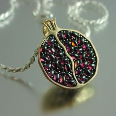JUICY POMEGRANATE bronze and silver garnet pendant by WingedLion