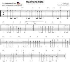 Guitar lesson with free tablature, sheet music, video tutorial, chords and backing track. GUANTANAMERA easy for beginners. Easy Guitar Tabs, Guitar Tabs Songs, Easy Guitar Songs, Guitar Chord Chart, Guitar Sheet Music, Guitar Tips, Music Sheets, Piano, Guitar Strumming