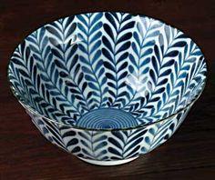 Blue & White Arita Bowl - Ferns
