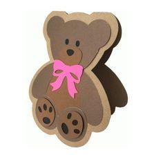 Teddy Bear with Bow Shadow Card Free Confetti  Blank inside