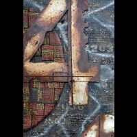 dz85 80x120 metaal hout kunstwerk