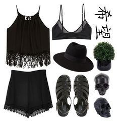 """""""lush black"""" by camille-saguin ❤ liked on Polyvore featuring Secret Charm, D.L. & Co., Forever 21, Monki and Lux-Art Silks"""