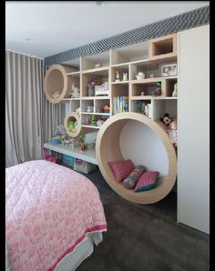 Fun and playful, love the different shapes and sizes of the storage shelves #SCD #KidsBedroom www.supdoor.com