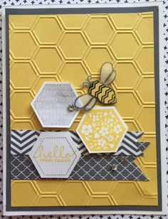 Bee Friends by - Cards and Paper Crafts at Splitcoaststampers Hexagon Cards, Bee Honeycomb, Owl Card, Bee Hives, Bee On Flower, Bee Cards, Stamping Up Cards, Honey Bees, Bee Happy