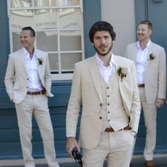 Tailor made linen suits for a more casual wedding look