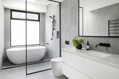 A century-old Elsternwick home received a modern renovation Bathroom Renos, Bathroom Layout, Bathroom Interior Design, Small Bathroom, Bathroom Ideas, Bathroom Renovations, Shower Ideas, Wet Room Bathroom, Modern Bathrooms