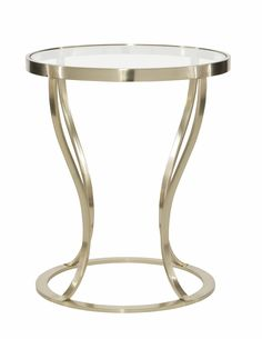 Miramon Round Metal Side Table with Glass Top