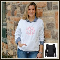 Monogrammable Wide Neck White or Black Sweatshirt