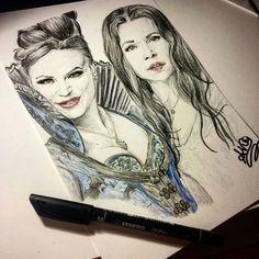 Evil Queen and Snow White by AkaJesse.deviantart.com on @DeviantArt