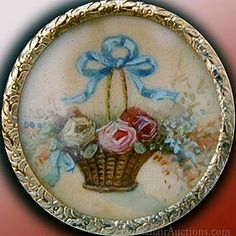 Painted on Ivory. Beautiful Basket of Flowers Button.