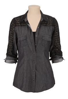 Lace Back Black Denim Shirt (original price, $29) available at #Maurices