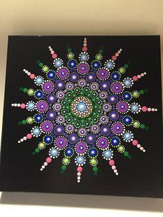 Hand Painted Mandala on Canvas Dot Art Meditation by MafaStones